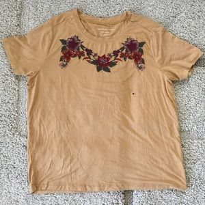 Mustard Flower Embroidered American Eagle Crop Top